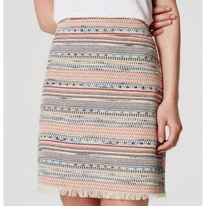 LOFT Cream Woven Tweed Fringe Mini Skirt Sz 14